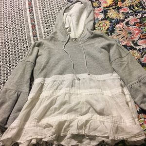 Free People sweatshirt/ruffle blouse